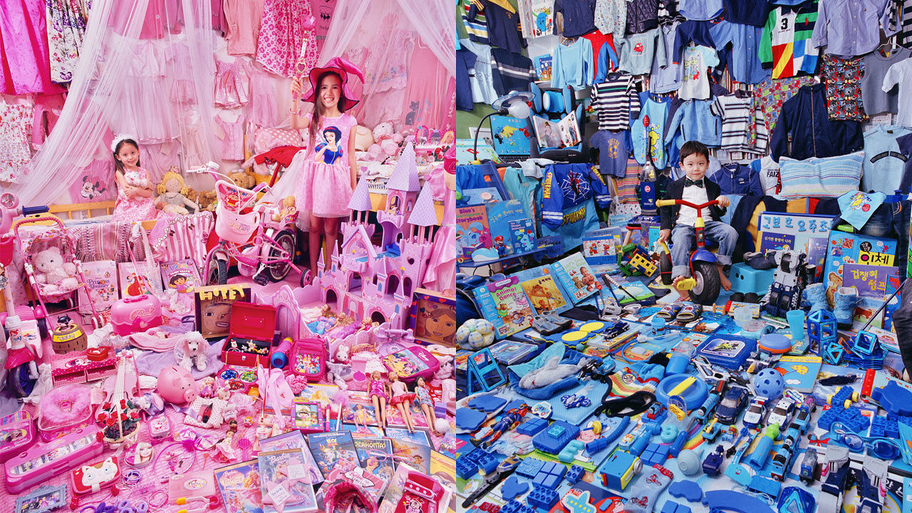 Blue Is For Boys, Pink Is For Girls: See Children Surrounded By Their Color-Coded Toys