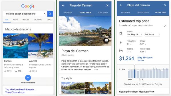 Destinations on Google