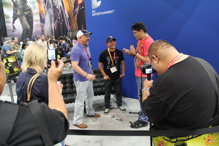 <p>Reporter Dan Burgos and cameraman Eli Contreras of <a href=&quot;http://www.comicbooktherapy.com/&quot; target=&quot;_blank&quot;>Comic Book Therapy</a> interview DC Comics co-publishers Dan DiDidio and Jim Lee.</p>