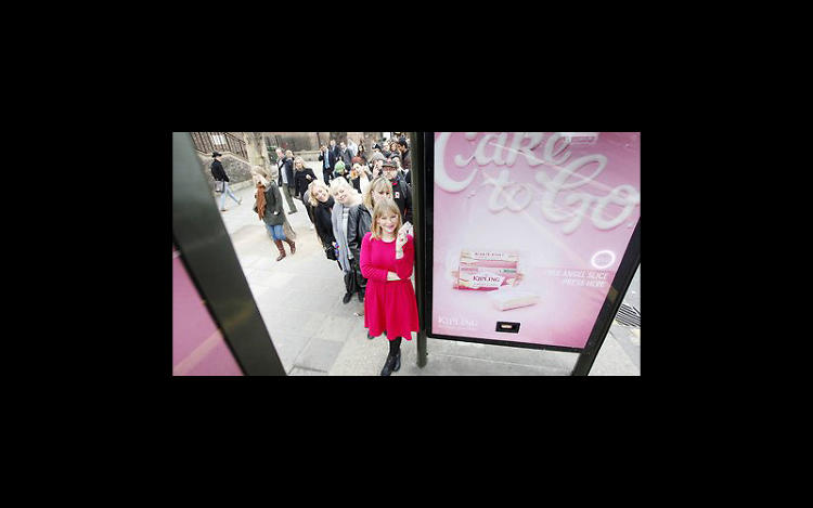 "<p>SMELL! TASTE! FEEL! HEAR!: Mr. Kipling cake-dispensing bus shelter</p>  <p>Upping the ante from mere olfactory appeal, this bus shelter for Mr. Kipling Cake-to-Go delivers the goods. Literally. To promote its ""snap pack"" travel-friendly design, bus shelters were turned into snack dispensers, making time spent waiting for a bus all the sweeter. At the touch of a button, commuters were treated to a free Angel Slice at bus shelter 19 locations around the city that were also outfitted with a spray that emitted the smell of the cake. Throughout the week-and-a-half-long campaign created by agency 101 London, Mr. Kipling doled out 130,000 Angel Slices (that's 500 per day), with many of the shelters seeing long lines of cake seekers.</p>"