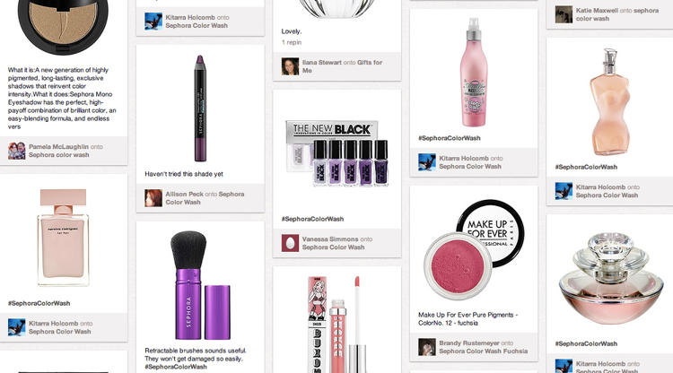 <p><strong>Sephora Web Site Redesign</strong><br /> Who better to buy new beauty products from than those who work with them all day, every day? That's the rhetorical question Sephora addresses with its <a href=&quot;http://pinterest.com/source/sephora.com/&quot; target=&quot;_blank&quot;>Pinterest integration</a>, part of a sweeping site redesign. Not only has the brand added a &quot;Pin It&quot; button to every item on its site, it's included boards from select employees, so shoppers can browse and buy based on recommendations from those who know the products best.</p>