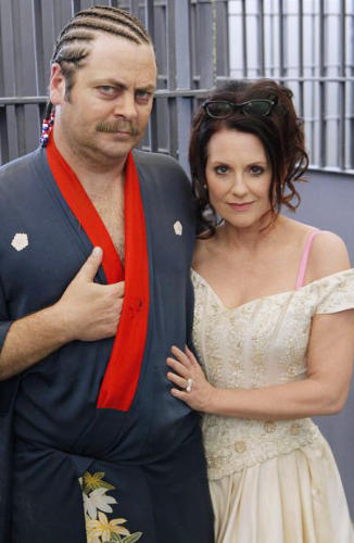 <p>Ron Swanson's ex-wife, Tammy 2, is played by actress Megan Mullally, who is Nick Offerman's real-life wife.</p>