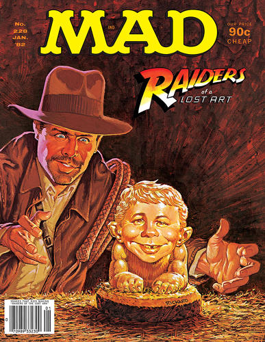 "<p>January, 1982 – <em>Mad</em> spoofs <em>Indiana Jones and the Raiders of the Lost Ark</em>. ""Steven Spielberg said <em>Raiders </em> was partially inspired by <em>Mad's</em> Scenes We'd Like to See, which takes clichéd film scenes and turns them on their heads,"" says Ficarra. ""In <em>Goonies</em>, the kids solve a treasure hunt by folding a map like they fold a <em>Mad</em> Fold-In. Both Lucas and Spielberg have bought the original artwork of <em>Mad's</em> spoofs of their films.""</p>"