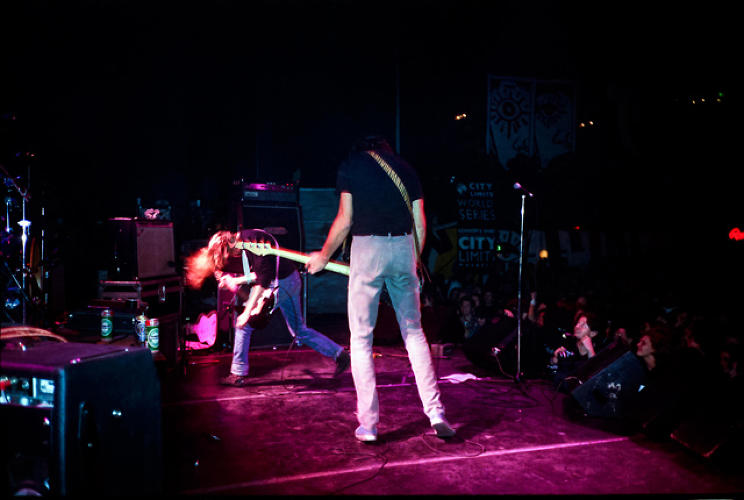 <p>Kurt Cobain and Krist Novoselic on stage at the Astoria Theatre in London, 1989. Source: <a href=&quot;https://itunes.apple.com/us/book/experiencing-nirvana-grunge/id575827071?mt=11&quot; target=&quot;_blank&quot;><em>Experiencing Nirvana: Grunge In Europe, 1989</em></a></p>