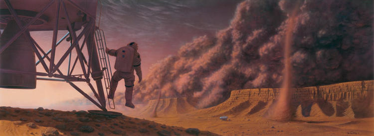 <p>This 2000 image envisions a giant dust storm on Mars.</p>
