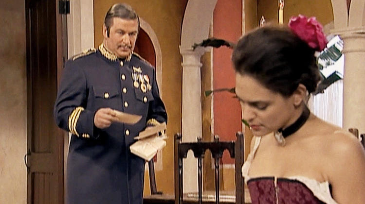 <p>Aired: Season 3 Episode 10</p>  <p>Alec Baldwin's Jack Donaghy finds himself not currying favor with paramour Salma Hayek's mother, who is hooked on this Puerto Rican soap opera (the title translates to &quot;The Secret Lovers&quot;). The show's villainous Generalissimo bares an uncanny resemblance to Donaghy.</p>