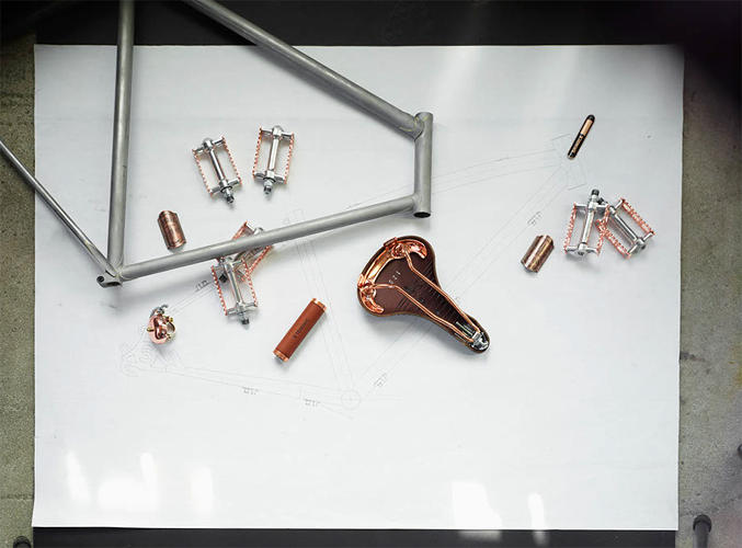 <p>Bicycle parts at Shinola</p>