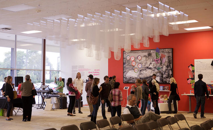 <p>Gathering at the Detroit Creative Corridor Center Office</p>