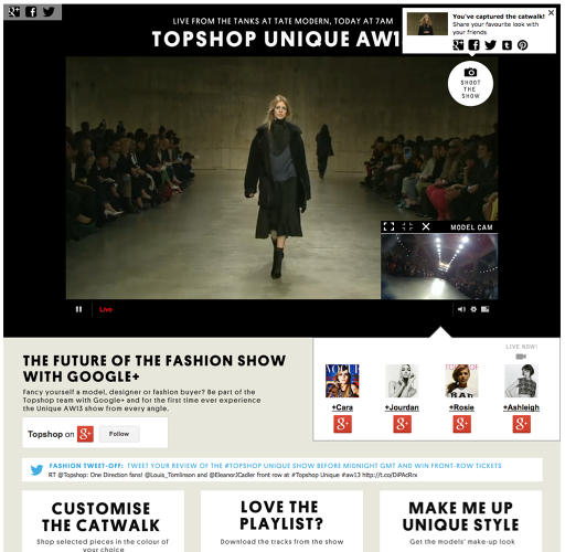 <p>Using the Shoot The Show feature, users could share their favorite looks from the show as the video streamed live.</p>