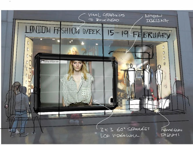 <p>The show was also streamed live in the window of Topshop's Oxford Street store.</p>