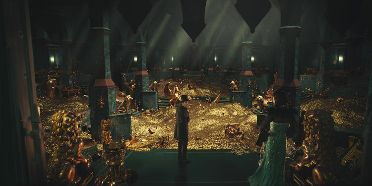 <p>Rachel Weisz's Queen Evanora tempts James Franco's Oz-to-be character in the so-called &quot;Bridge to Resplendence.&quot; Built out digitally, the treasure chamber equalled the size of a football field.  Stromberg says, &quot;When I was a kid going through Pirates of Caribbean at Disneyland, staring at those piles of gold was just fascinating to me. That was our starting point: the piles of gold from the Pirates of the Caribbean ride.&quot;</p>