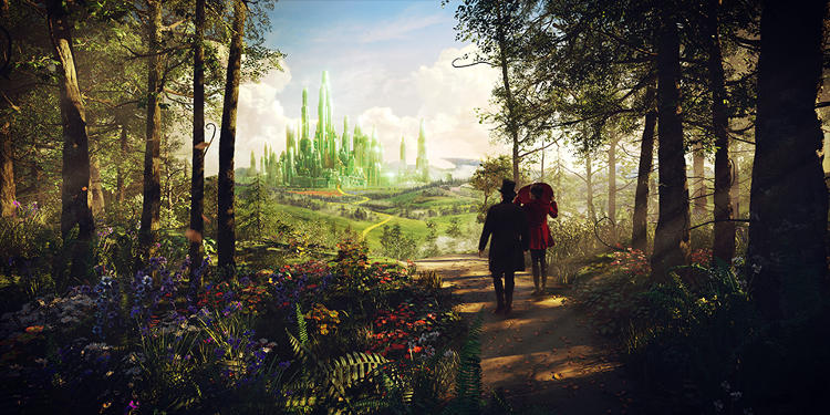<p>Robert Stromberg combined a physical brick road set with digital vistas.</p>