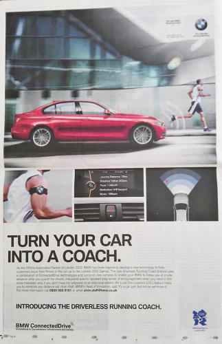 <p>Fitness nuts who happen to drive BMWs rejoiced in 2012 when the company announced it had created a self-driving Coach mode, wherein a voice barked out encouragement as the car followed its exercising driver.</p>