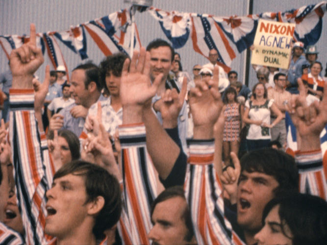 "<p>A choral group greets President Nixon on the 1972 campaign trail. Much of the footage captured by Haldeman, Ehrlichman, and Chapin is of scenes like this: Nixon's ""Silent Majority,"" a vast population of self-consciously patriotic Americans who believed in him--only to be betrayed in the end.</p>"