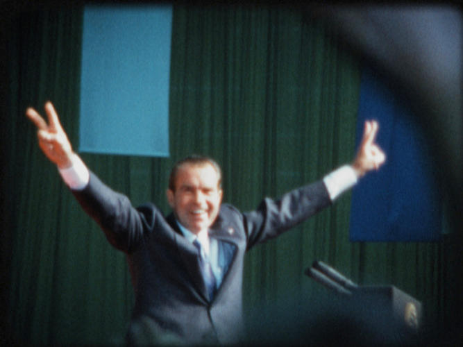 <p>President Nixon at a large 1972 rally, a few days before his historic landslide reelection.</p>
