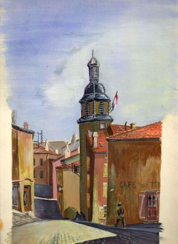 <p>A 1944 painting of a small French town by Ghost Army soldier Tony Young from Chicago.</p>