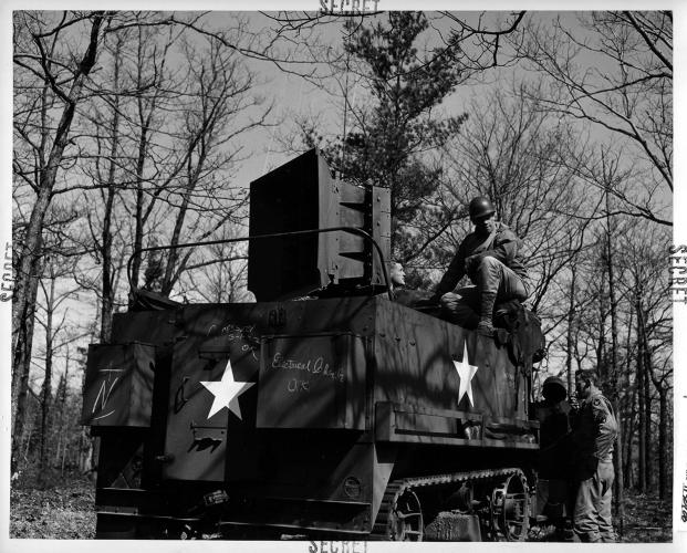 <p>A halftrack with playback equipment and a 500-pound speaker with a range of 15 miles mounted on the back for sonic deception.</p>