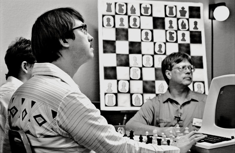 <p>(From left) Patrick Riester as Peter Bishton with Wiley Wiggins as Martin Beuscher representing the Cal Tech team of TSAR 3.0 against Bert Herigstad as Luke Kerbow, leader of LUKE team</p>