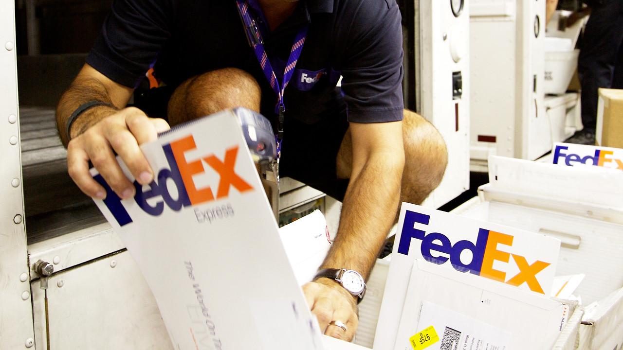 The iconic FedEx logo