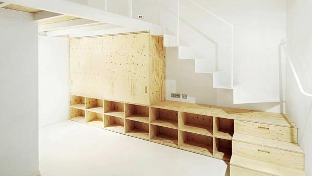making a loft that 39 s just 366 square feet feel big co. Black Bedroom Furniture Sets. Home Design Ideas