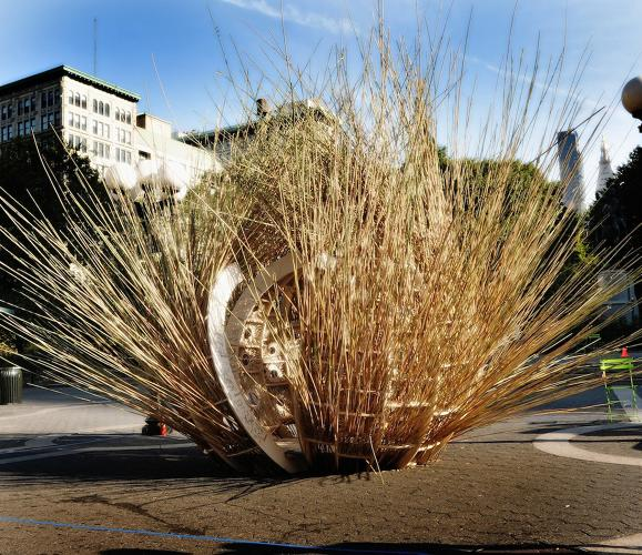<p>Winner of the People's Choice award, the &quot;Fractured Bubble&quot; sukkah, made of phragmites, an invasive species of marsh grass from Queens, was designed by Henry Grosman and Babak Bryan of Long Island City. While there were likely no marsh grasses in the Sinai, this sukkah might have sparked Moses' memory of being found in the bull rushes. Or maybe this was a meditation on the transient nature of any real estate bubble…</p>