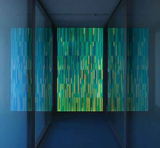 <p>Housberg's installation for this new science facility at Princeton consists of six pixelated glass walls, one color scheme per wall. Spread over multiple floors, the art work doubles a wayfinding system.</p>