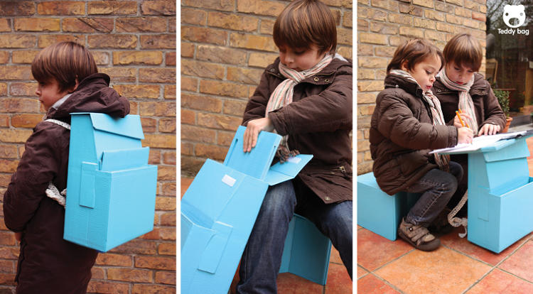<p>Here, François Verez and Ane Eguiguren, of the Université Technologique de Compiegne and the Elisava School of Design, designed an ingenious little backpack that converts into a school desk. Built from cardboard, it folds out into a table and a separate seat; as a backpack, it even has enough room for books and binders. No word on whether it's got a weight limit, but we can only assume it's a good thing that it wasn't designed for American kids.</p>