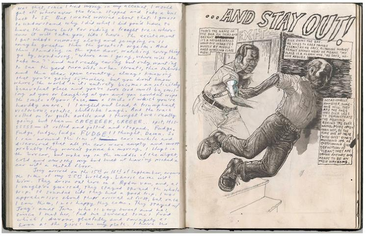 "<p>Tim Lane, a New York-based illustrator and comic artist, also has a multiple-book practice. ""I keep difference sketchbooks for difference reasons."" One is more like a journal, in which he documents life experiences and weird dreams. Another is a pocket-size Moleskine that he keeps with him at all times ""to record things whenever I go out.""</p>"