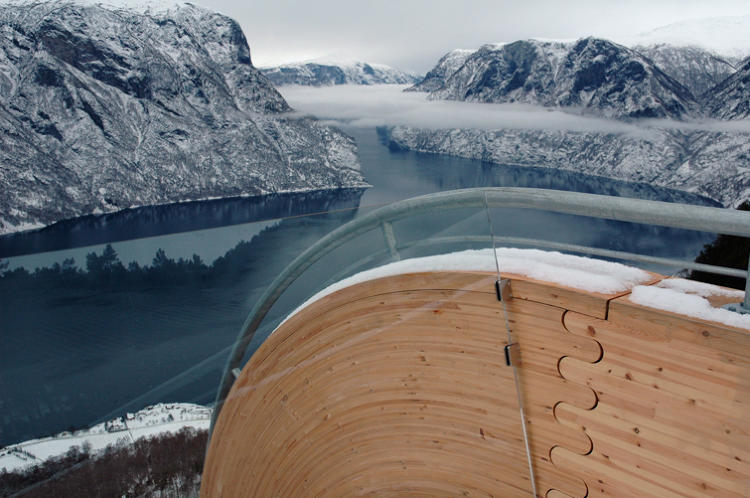 <p>Norwegian architects Todd Saunders and Tommie Wilhelmsen designed this striking wooden viewing platform, which rises a whopping 2,133 feet over the water in Aurland.</p>