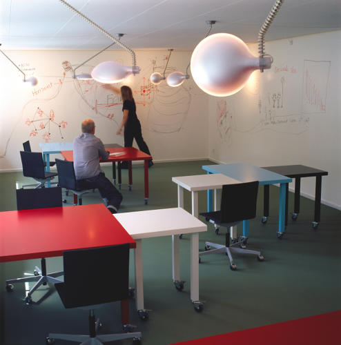 <p>The particulars of a meeting room have everything to do with how you plan to use it. The architects Bosch &amp; Fjord turned this space for a Danish marketing agency into a rakish playroom, complete with whiteboards and mobile furniture -- the perfect place for free-flowing brainstorming sessions.</p>