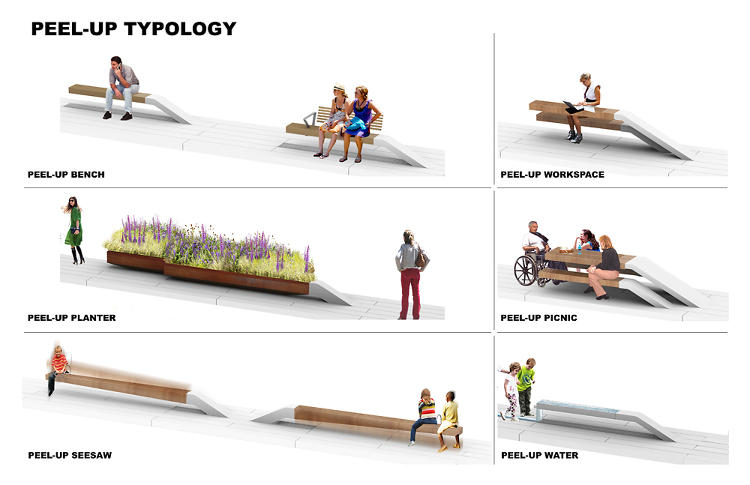 <p>The High Line's existing &quot;peel-up&quot; benches will be expanded to include peel-up picnic tables, peel-up water fountains, peel-up work stations, and more.</p>