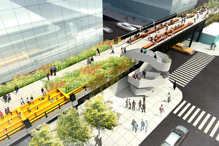 <p>A new stairwell will provide access to the park at the intersection of West 30th Street and 11th Avenue.</p>