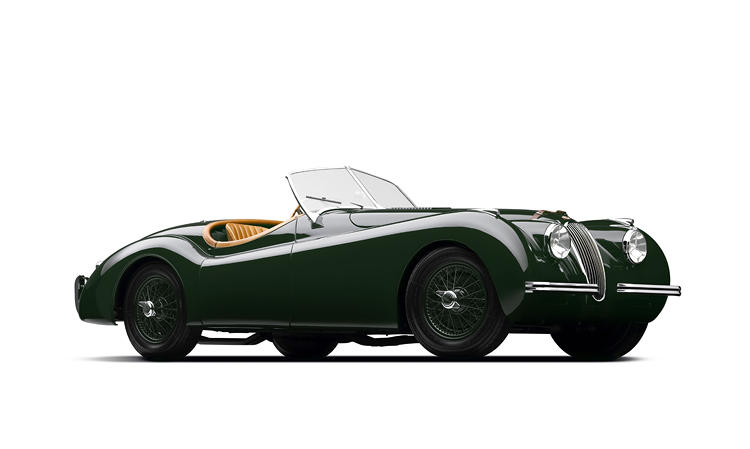 <p>Originally, Jaguar produced just 200 models of this stunning car -- innovative for its time with a straight 6 cylinder 3.5 liter engine and twin overhead camshafts. But the car was an unexpected smash, especially among Hollywood stars, so it went into mass production as the xK140, then the xK150, until 1961. Lauren's aluminum-body model was one of six factory cars belonging to Jaguar. It was driven several times by Clemente Biondetti, the famous Italian racecar driver.</p>
