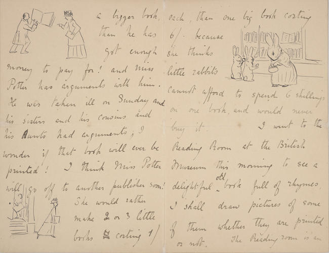 <p>A letter to Marjory Moore dated March 13, 1900, featuring a few little anthropomorphized bunnies.</p>
