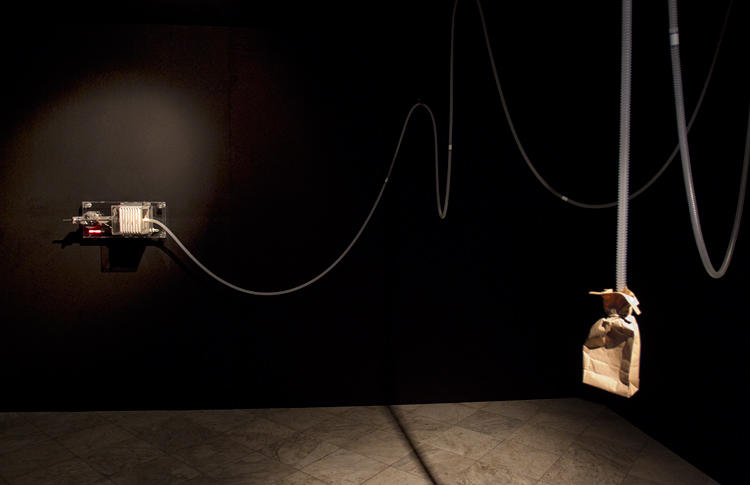 <p>The mechanism breathes about 10,000 times a day--the average for a normal adult. Lozano-Hemmer calls the piece a &quot;biometric portrait.&quot;</p>