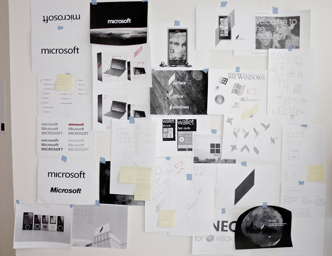 <p>Ideas, sketches, and notes tacked on the wall of Kim's studio show the evolution of his proposal.</p>
