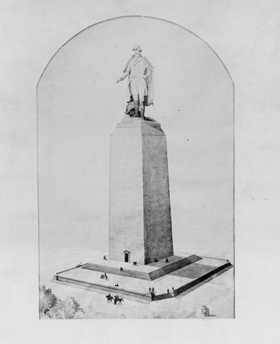 <p>Construction of the Washington Monument got underway in 1848 but was halted in 1856, leaving an unfinished stump on the National Mall for more than two decades. In the 1870s, architects floated ideas for finishing the monument. Here's one by Vinnie Ream Hoxie.</p>