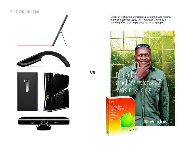 <p>On the left, Kim points out some of the company's newest, coolest products. On the right, their over-friendly branding for Microsoft Office--&quot;a branding effort that simply does not inspire people.&quot;</p>