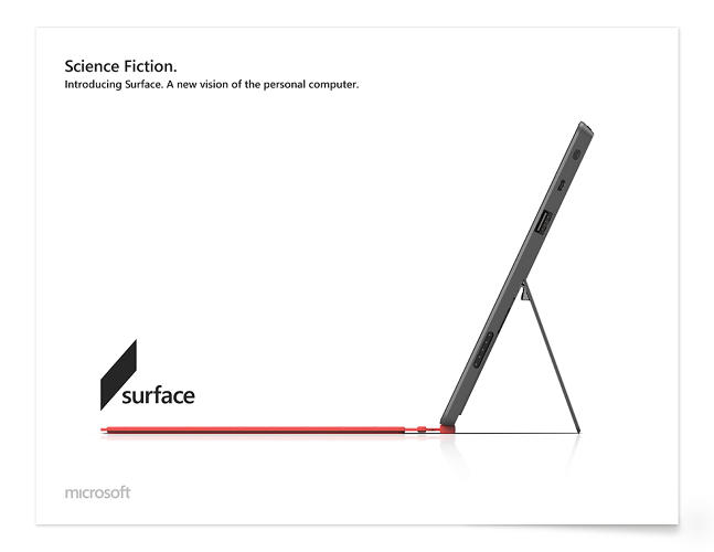 <p>He's even reimagined print ads--here, we see a full-page spread (or billboard?) for the Surface tablet.</p>