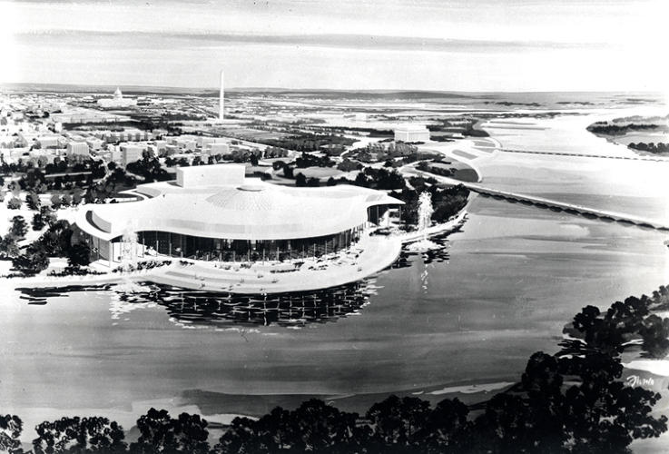 <p>A much nicer, curvier concept for the Kennedy Center by Edward Durell Stone (1959).</p>