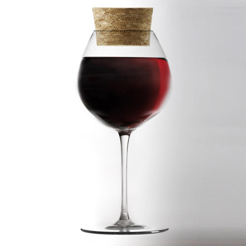 <p>Gumdesign's new collection of stemware, manufactured by ColleVilca, includes a glass with its own cork stopper, so you can save the contents for later.</p>