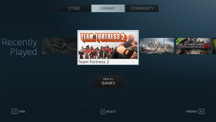 <p>You can select any Steam game to play on your TV.</p>