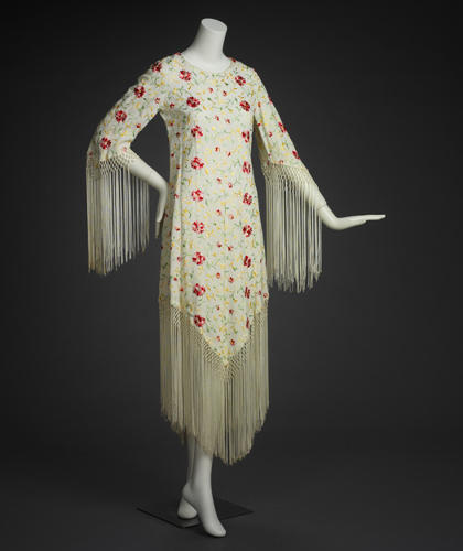 <p>Adolfo Sardina fringed dress, 1970</p>