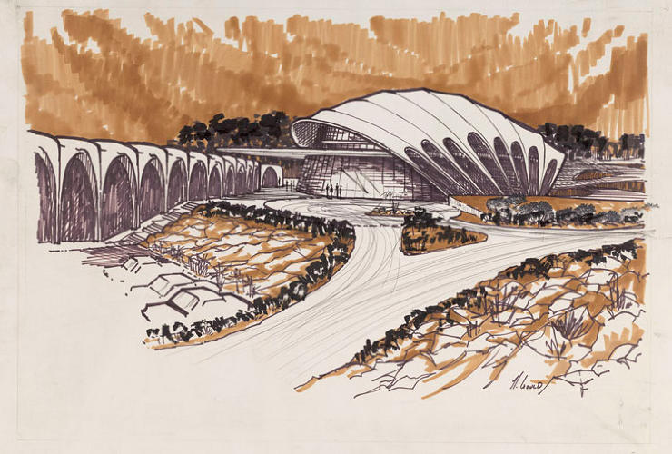 <p>A drawing of Goldberg's unbuilt San Diego Theater (1967-1968)</p>