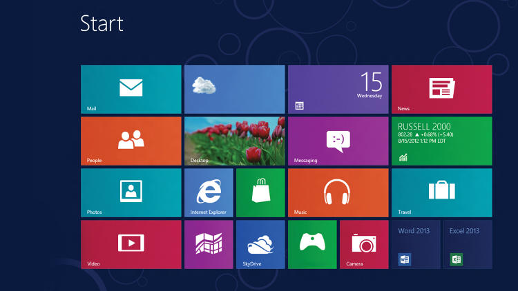 <p>Goodbye, desktop; hello, modernist grid: In Windows 8, you launch apps by clicking or tapping a tile.</p>