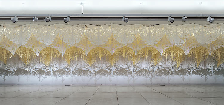 <p>Though Manuel Ameztoy is from Argentina, it was a trip to Mexico that truly changed the trajectory of his work. The style of garlands, like those used in the country's Day of the Dead festivities, has become a hallmark of his textile installations.</p>
