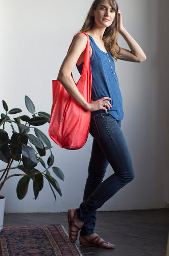 <p>Sugihara designed the first Baggu not just for aesthetics and functionality, but also for manufacturing. The bag's simple design, a knockoff of the standard plastic bag, contains just one seam along the bottom and gussets that allow it to stand up when full.</p>