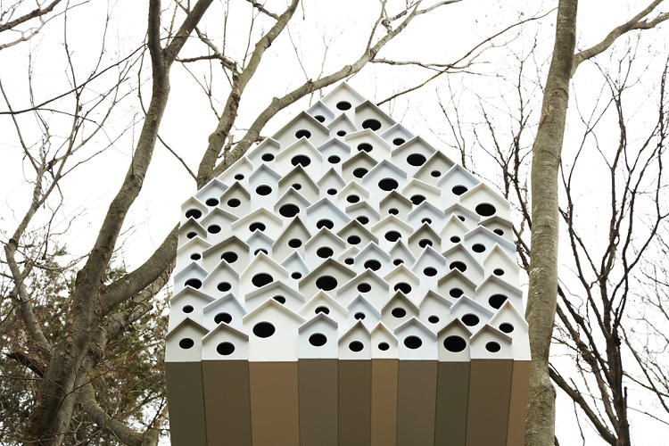 <p>The other side is made up of 78 individual bird houses, each large enough to hold a nest.</p>