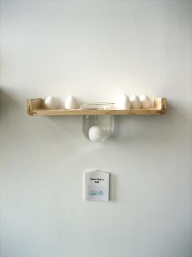 <p>This shelf lets eggs breathe and includes a simple mechanism for testing whether or not they've gone bad: Dunk the eggs in the glass of water, and the fresher they are, the more they sink.</p>