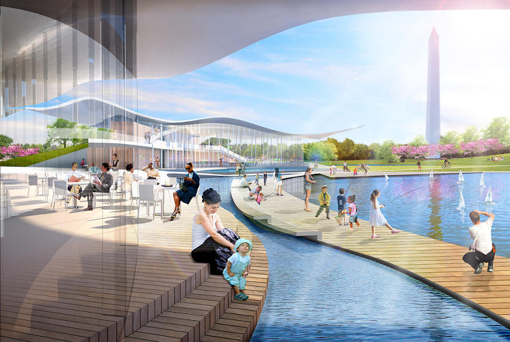 <p>OLIN and Weiss/Manfredi include floating walkways in their plan for the Constitution Gardens.</p>